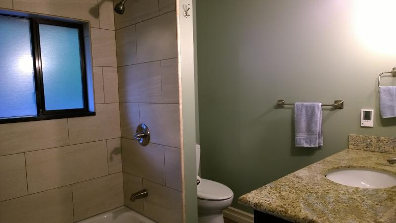Bathroom with heated floors and stone finishes