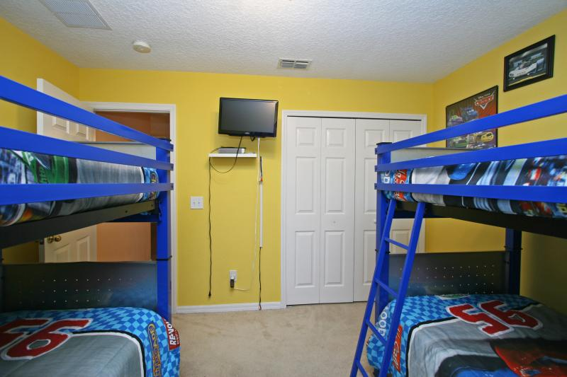Second floor bedroom (Bedroom #7) -  four twin beds, Themed 'Racing and Cars'