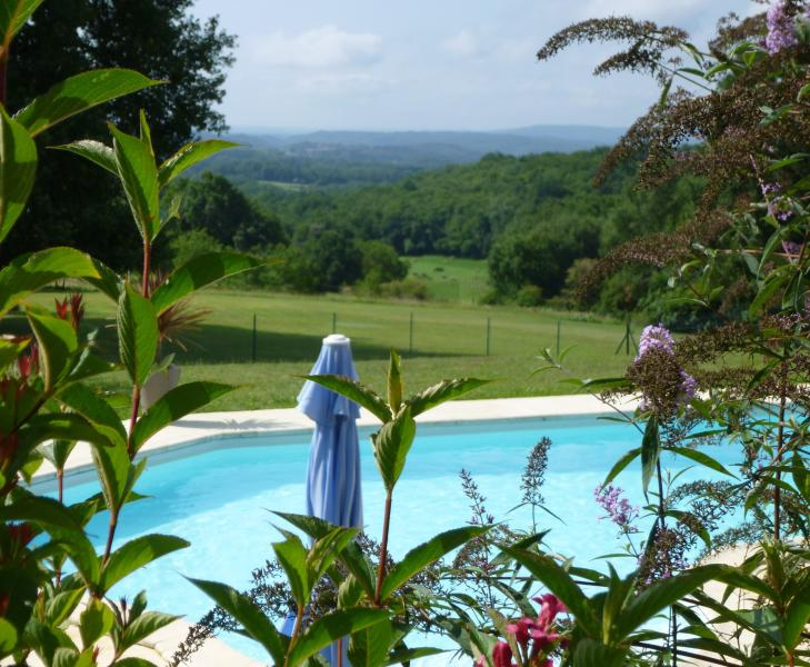 view of pool and gardens