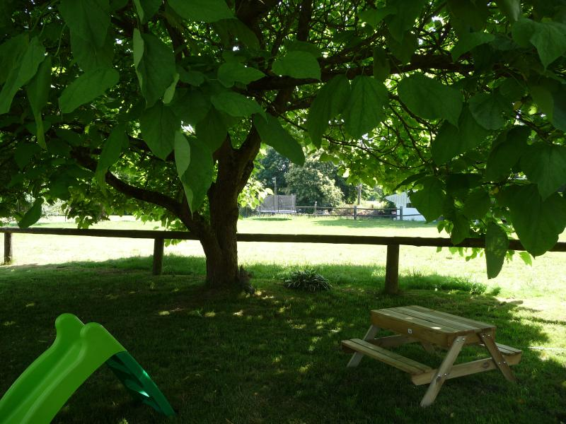 Parc de Lutin: Small children's picnic table under the shady 'Popcorn' tree (2014)