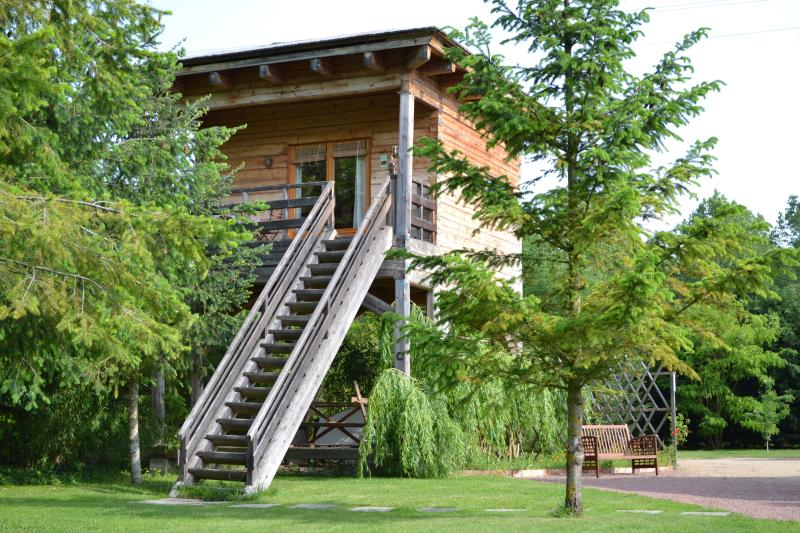 timber chalet on stilts, alquiler vacacional en Les Rosiers sur Loire