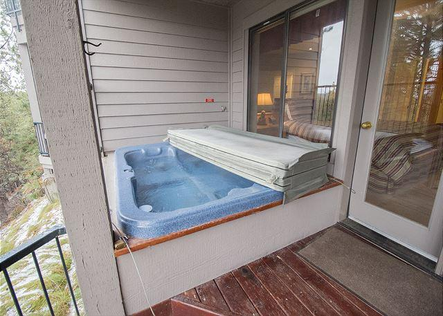 Relax in the private hot tub!