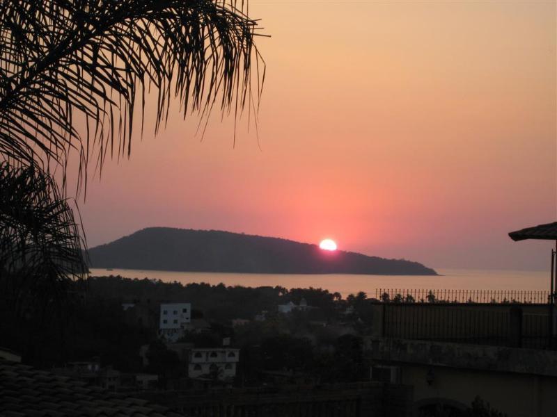 Pacific Blick auf den Sonnenuntergang von unserem Palapa.