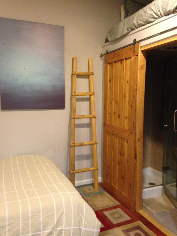 Master suite with Kiva log ladder to sky bunk