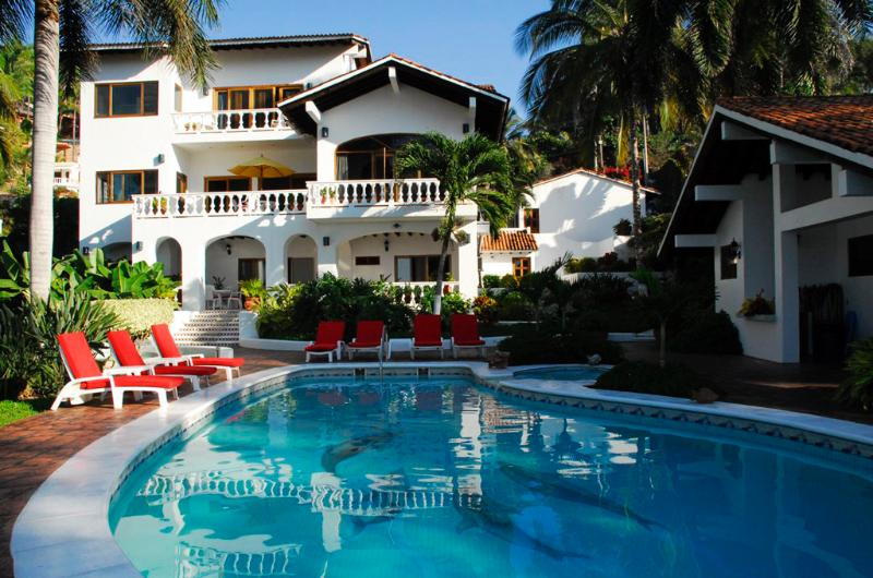 Backyard pool terrace