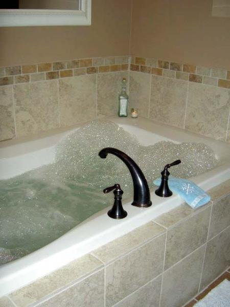 jato de 2-pessoa Jacuzzi banheira na casa de banho.
