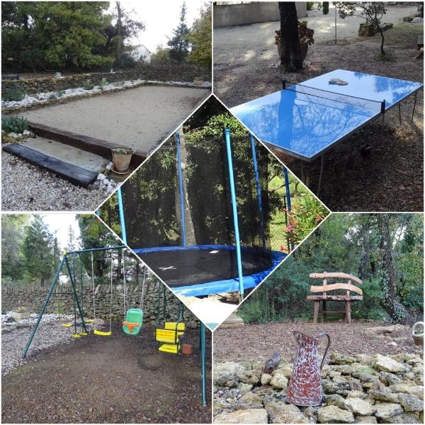 Play area: boules pitch, swing, table tennis, trampoline