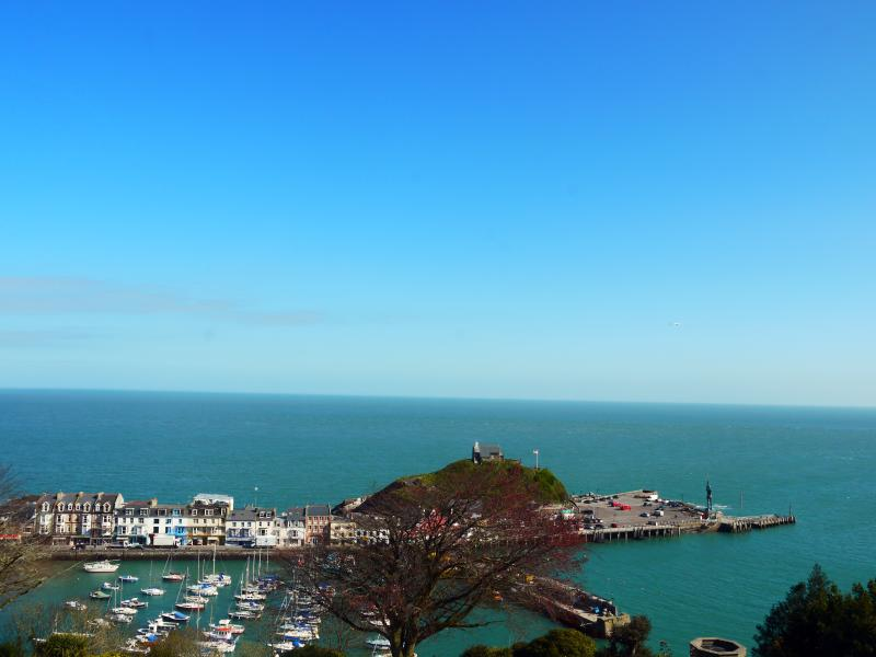 View from the balcony of Ilfracombe Harbour and Damien Hirst's iconic 'Verity'