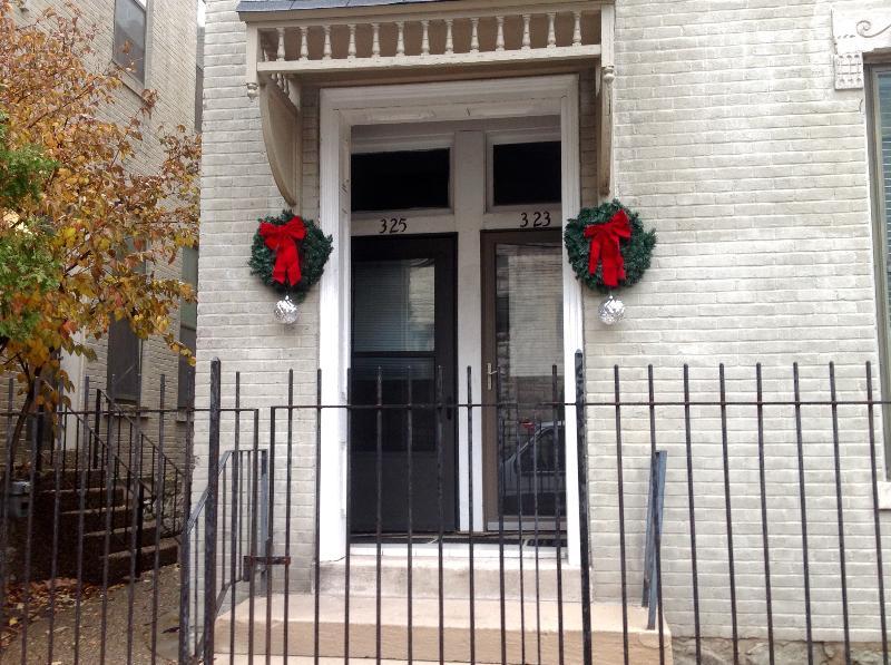 Front door at Christmas and holiday season