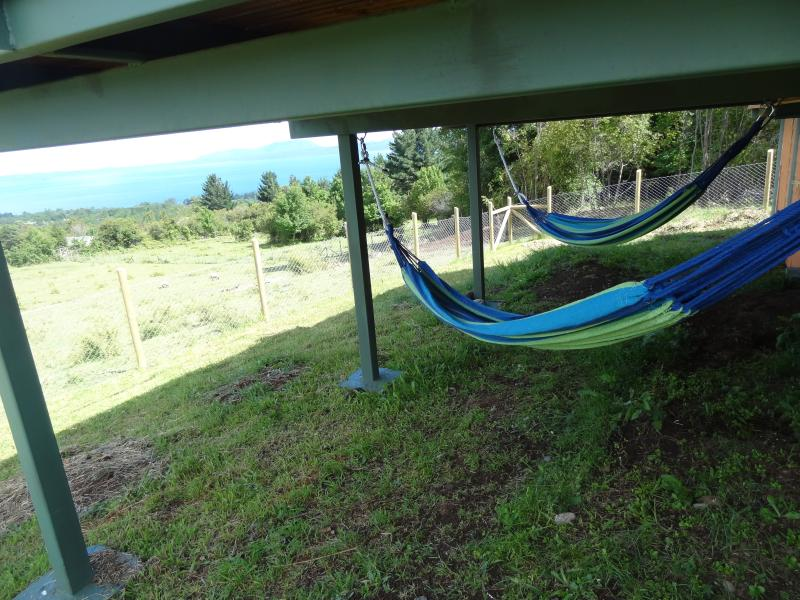 Shady Hammocks Under the Deck with Lake View.
