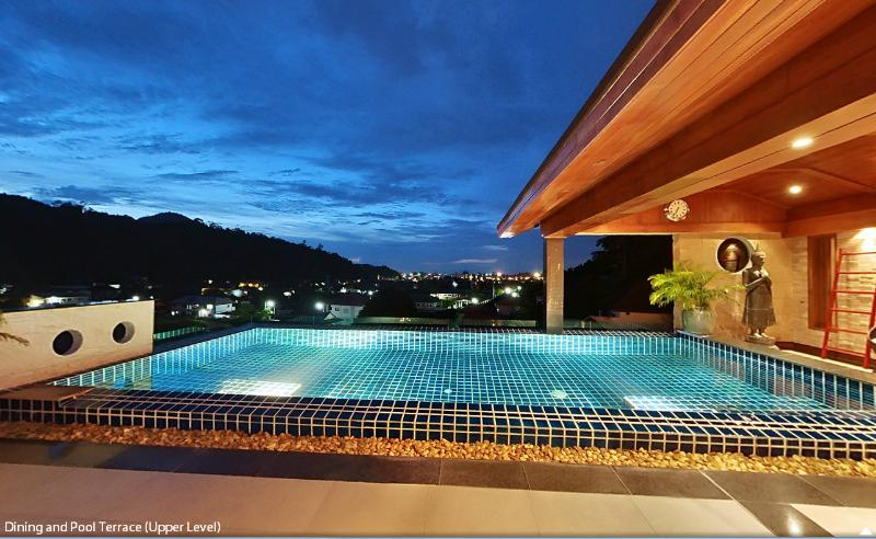 Nightime view from the pool terrace
