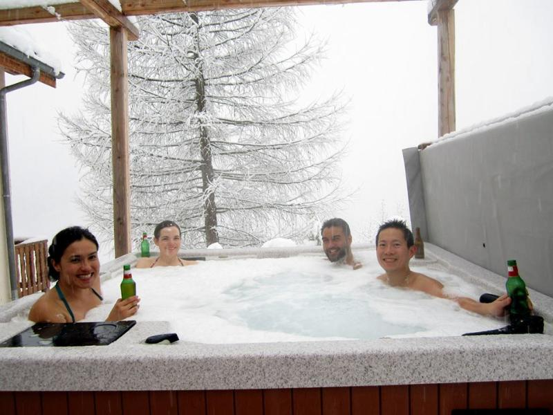 Guests enjoying the hot tub