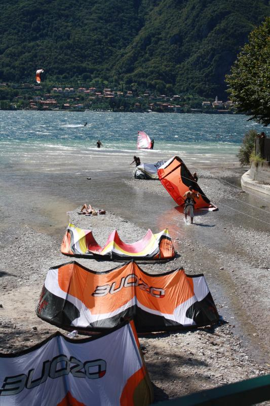 Kite surfers waiting to go out onto the lake