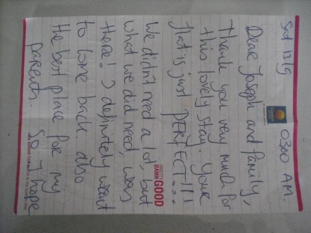 A parting note written by one of my satisfied guests at the end of her holiday ....