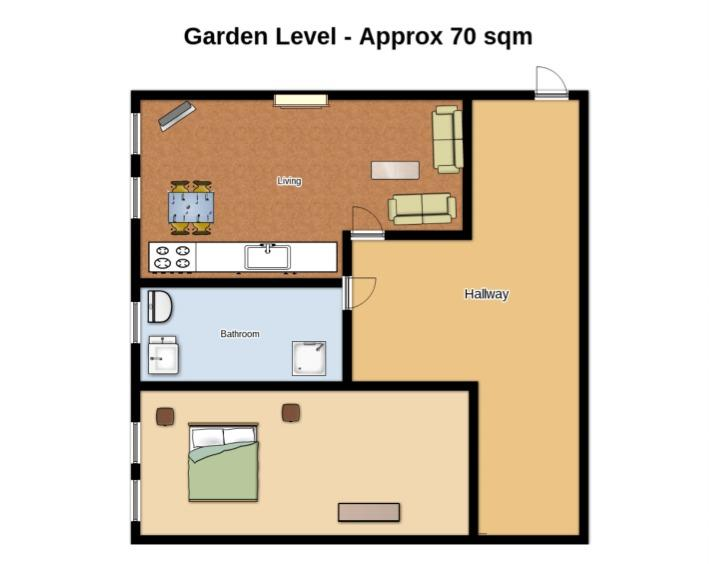 Layout of upper lower apartment (not to scale)