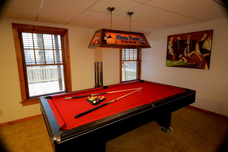 8 Foot Pool Table in the Entertainment/Bar area