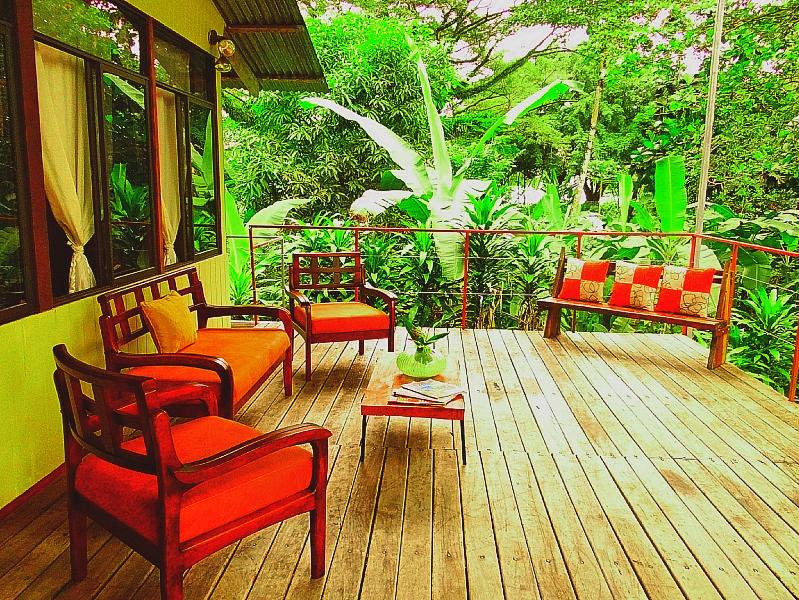 Upstairs Deck with a view of the water and jungle