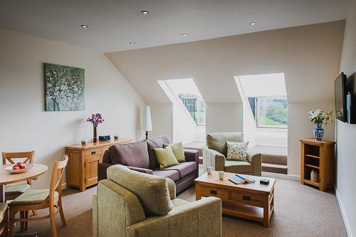 The lounge area and balcony windows