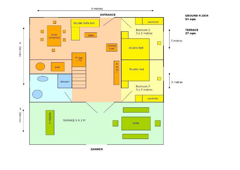 Plan de rez de chaussée - 2 chambres