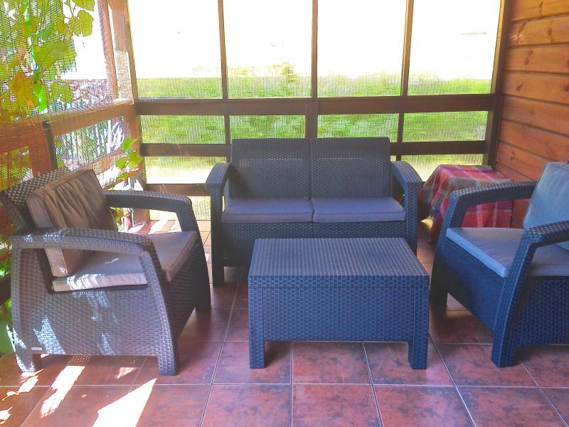 Terrace with wind protection