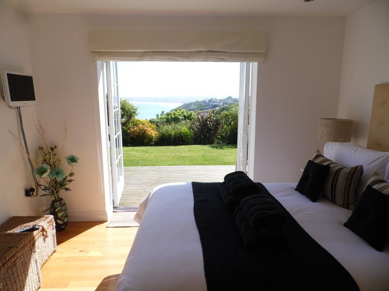 Super sea views across the bay from the bedroom