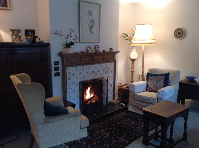 Sitting room showing beautiful fireplace