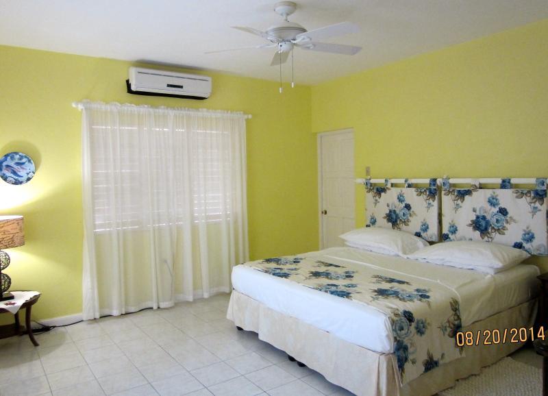 Master Bedroom - Californian King bed, AC, ceiling fan, en suite bathroom, walk in wardrobe