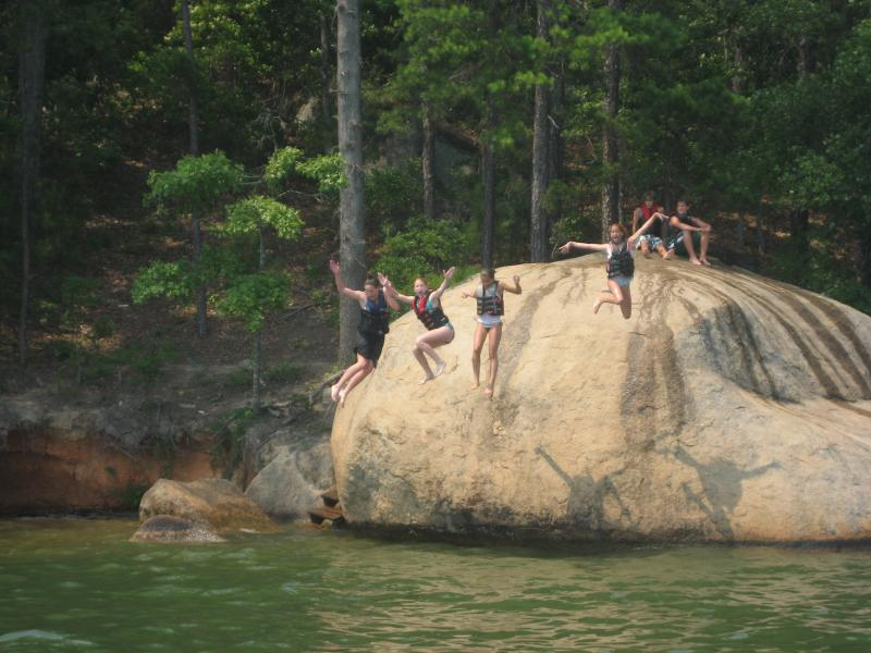 Nearby Jumping Rock is fun for kids and adults alike!