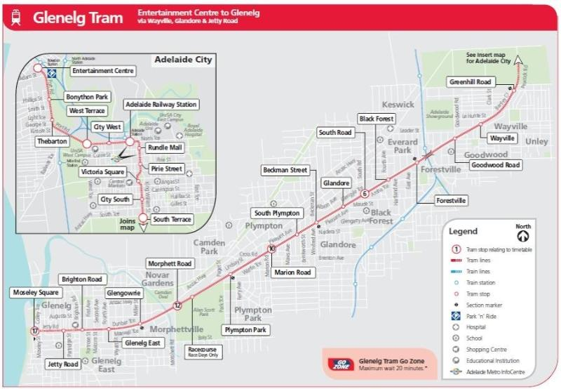 Tram map, closest stop is Victoria Square