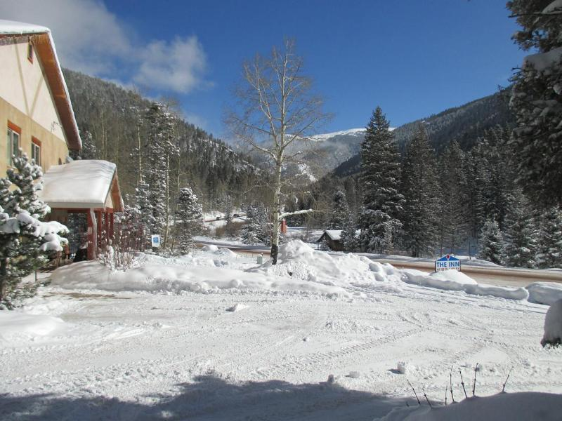 View from rear parking and turnoff from highway (next to 'The Inn at Taos Valley')