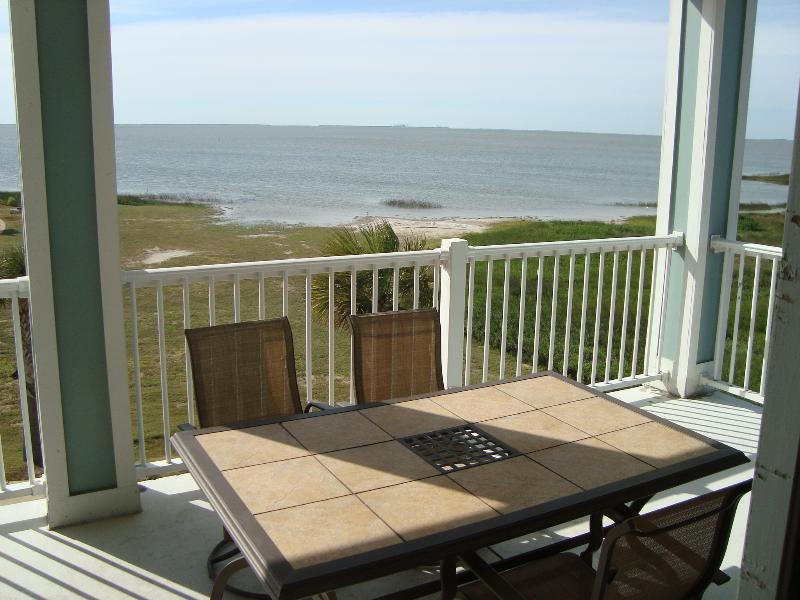 Here's a view from our spacious balcony at low tide.
