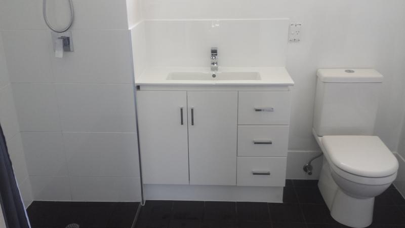 Upstairs Bathroom with Shower, Vanity and Toilet....2nd Toilet downstairs.