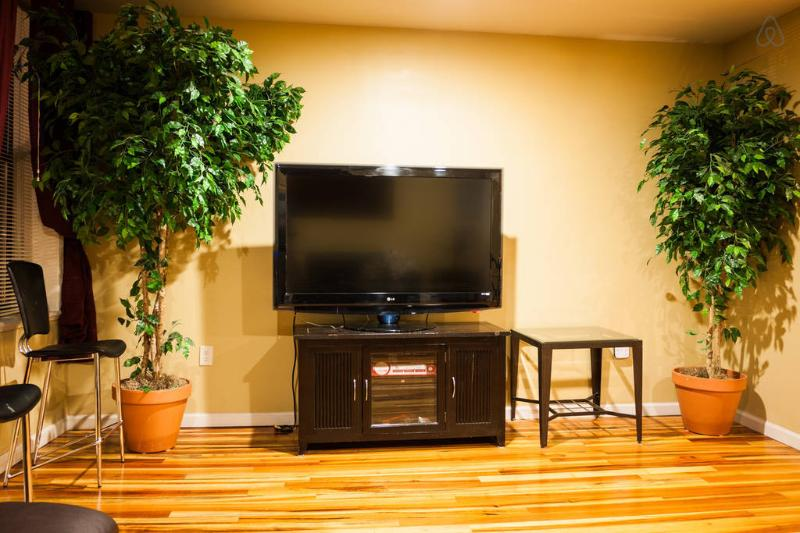 TV with cables and game console ps2.