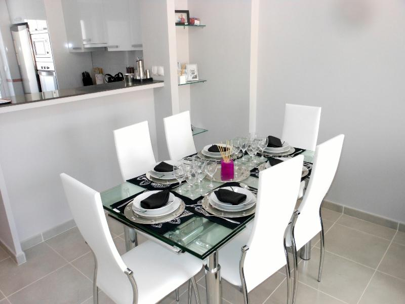 Stylish dining area close to the kitchen