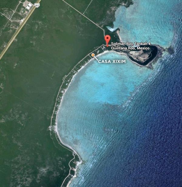 Aerial view of Casa Xixim location.