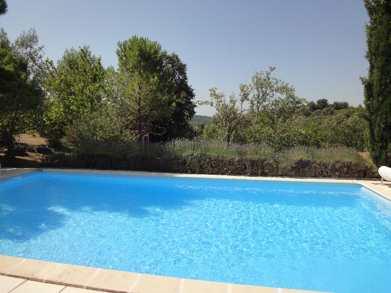 The pool, looking down the garden from the terrace