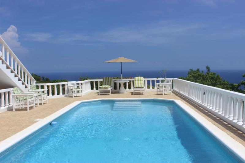 Relax by the pristine villa pool with fabulous views in all directions.