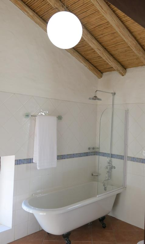 New roll top bath in master bedroom ensuite with monsoon showerhead