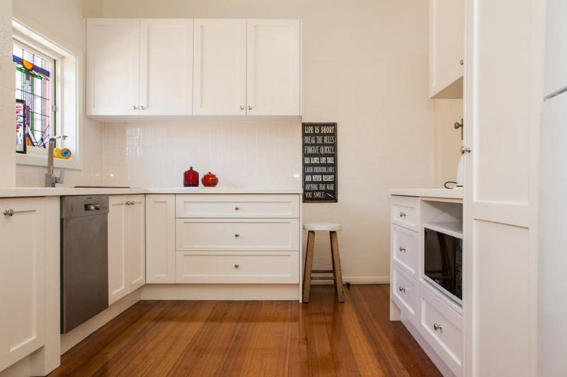 Your very own kitchen.  There is a front loader clothes washer/dryer in the kitchen area.