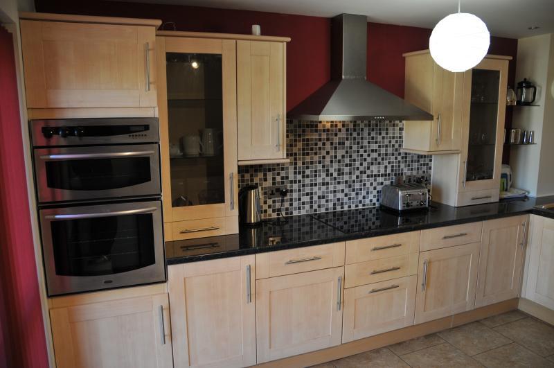 Totalmente equipada cocina, lavavajillas, microondas, horno/fogones, nevera, lavadora/secadora