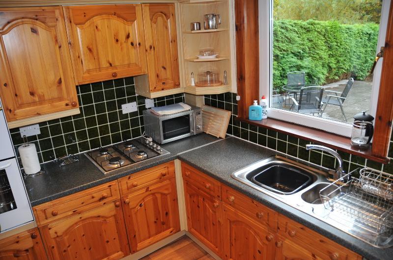 Lusso equipaggiata cucina con forno, fornelli, microonde, frigorifero, lavastoviglie e lavatrice