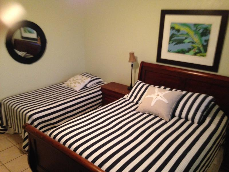 Master bedroom, queen size bed plus additional twin bed