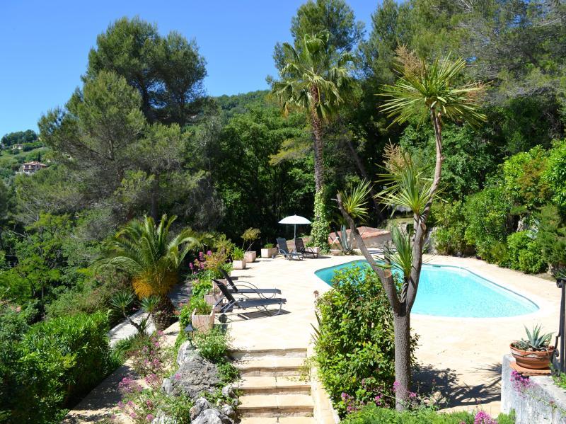 Grande piscina de água salgada e para o jardim além