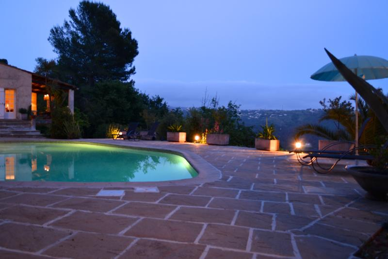 the pool terrace by night