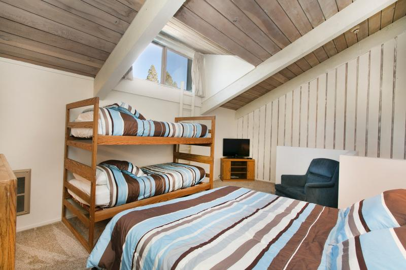 Master Bedroom With A Queen and A Twin Over Twin Bunk