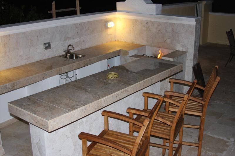 Amandier Villa Patio espace barbecue avec wetbar.