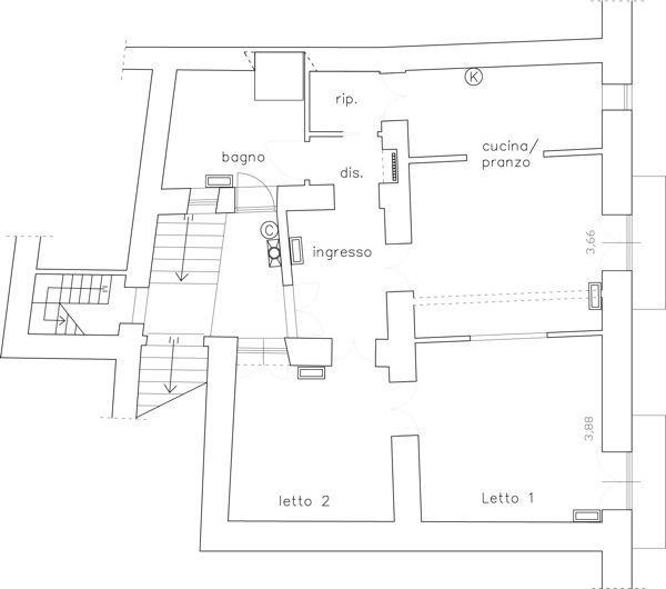 Casa Flora- kitchen + apartment map