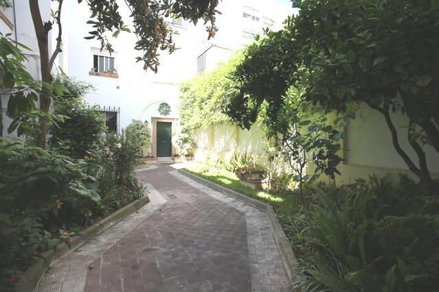 Entrada a la Torre a través de un bonito jardín con plantas y árboles