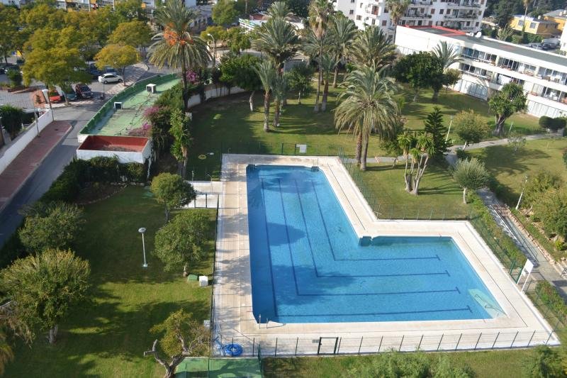 Well maintained pool and garden area