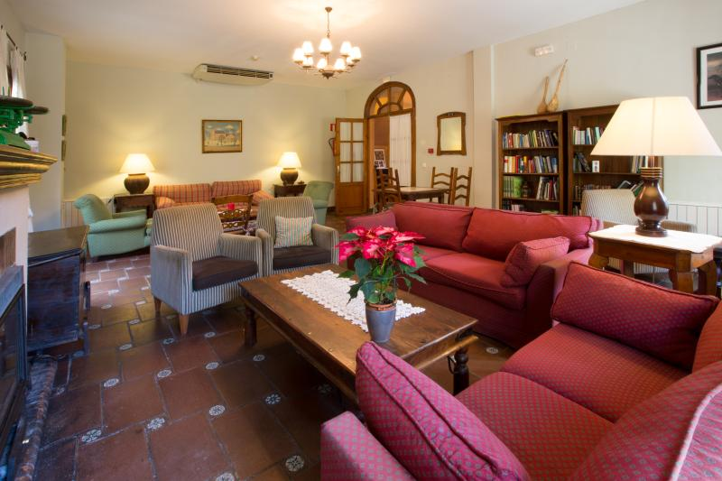 Library-lounge with fireplace